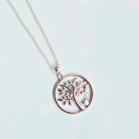 Sterling Silver Tree of Life with Heart Pendant Necklace