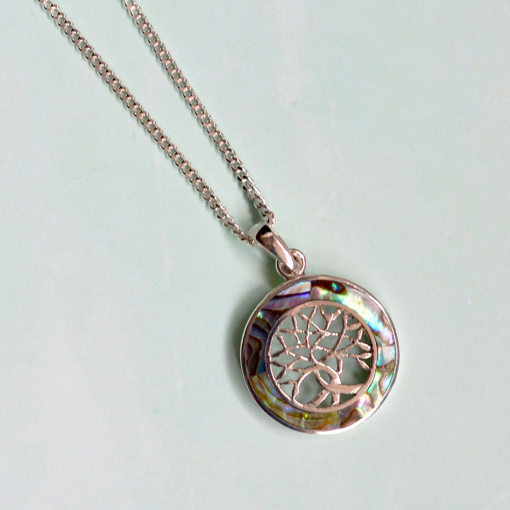 Sterling Silver & Paua Shell Tree of Life Pendant Necklace