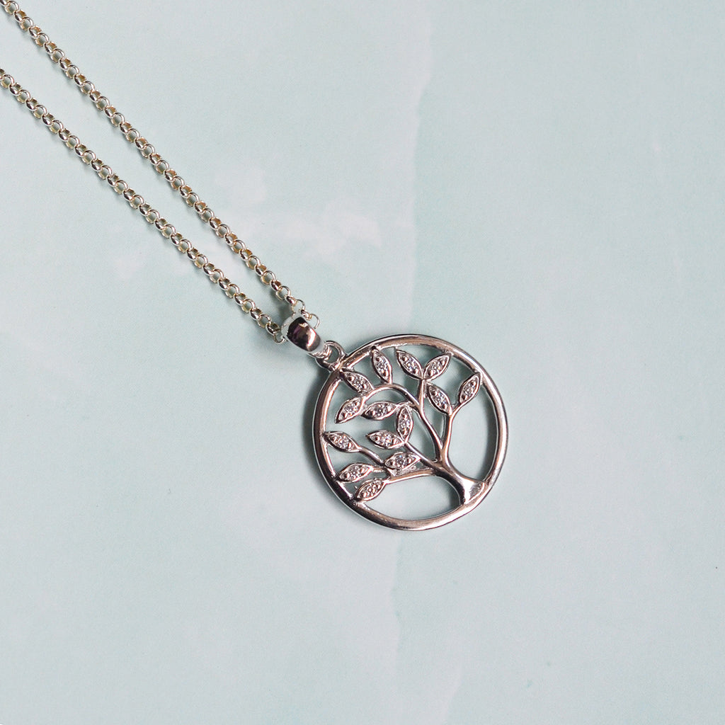 Sterling Silver & Stone Set Tree of Life Pendant Necklace