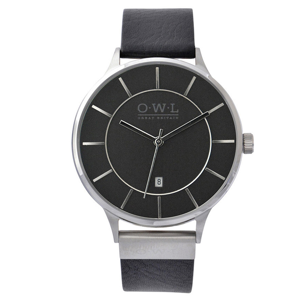 O.W.L Warwick Collection Gents Black Strap Watch W4SSK