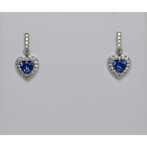 Sterling Silver & Cubic Zirconia Heart Drop Earrings