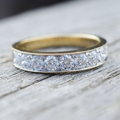 18ct Yellow Gold Diamond Half Circle Eternity Ring