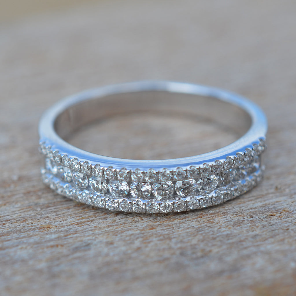 Diamond Three Row Half Circle Eternity Ring