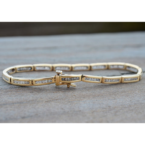Secondhand 9ct Yellow Gold Diamond Bracelet