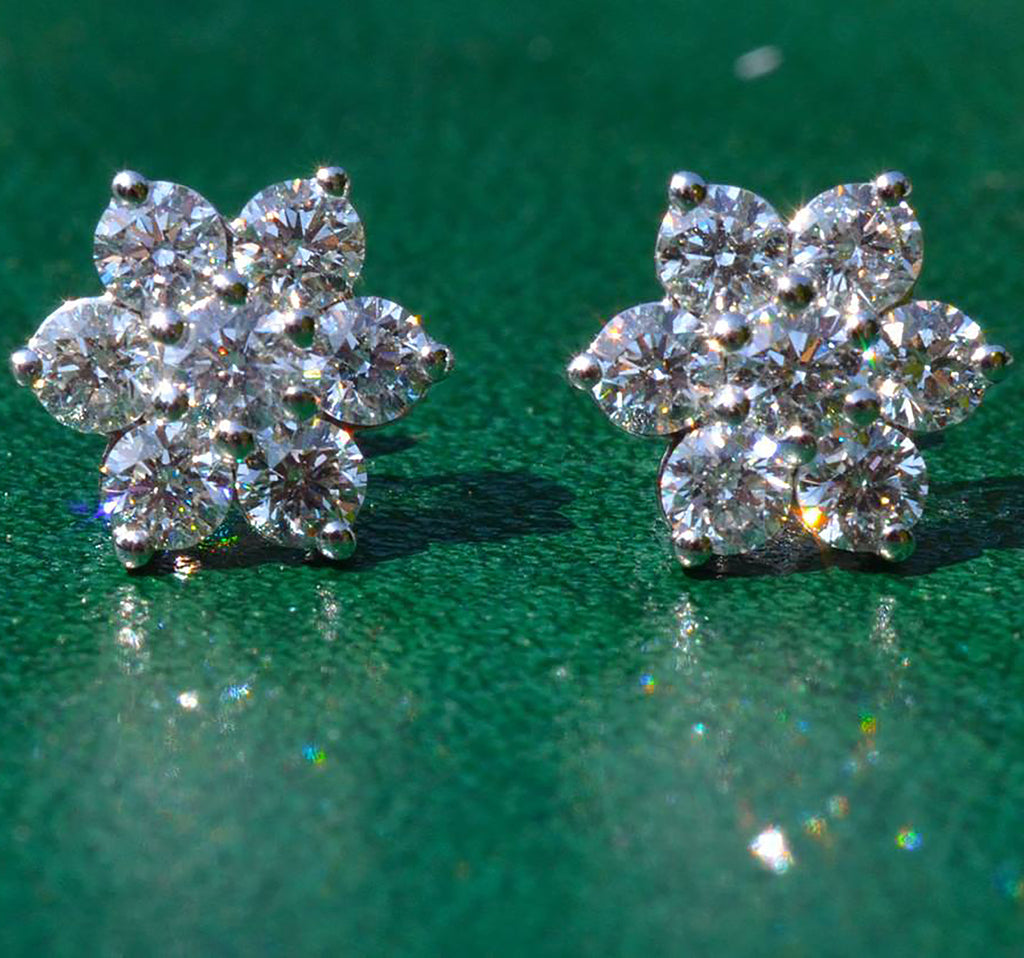 18ct White Gold 2.00ct Diamond Daisy Cluster Earrings
