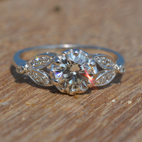 Diamond Solitaire Diamond Set Petal Ring