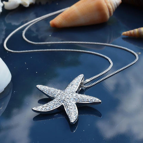 18ct White Gold & Diamond Starfish Necklace