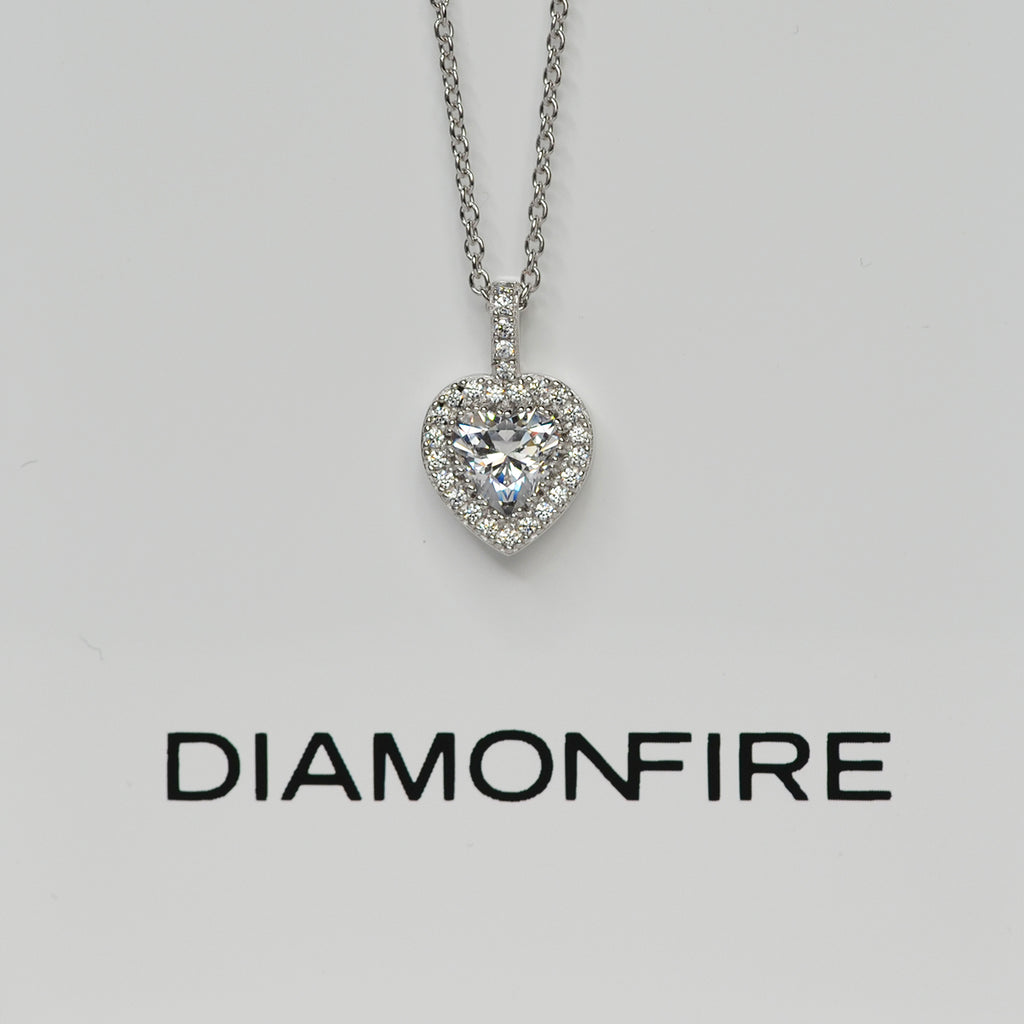 Sterling Silver Diamonfire Heart Pendant Necklace