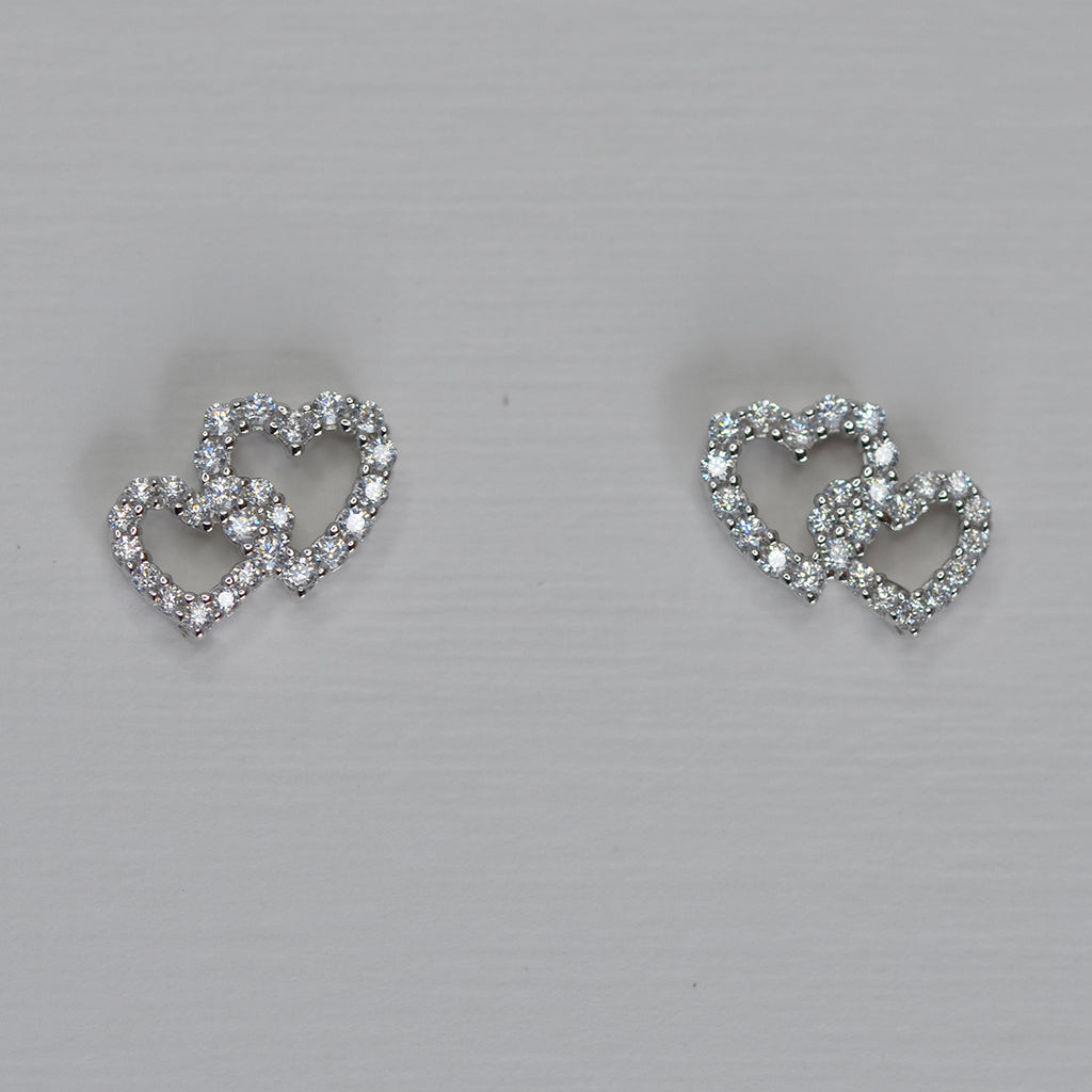 Sterling Silver & Cubic Zirconia Double Heart Stud Earrings