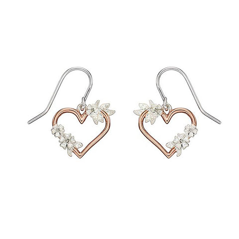 Sterling Silver & Rose Gold Plated Heart Drop Earrings