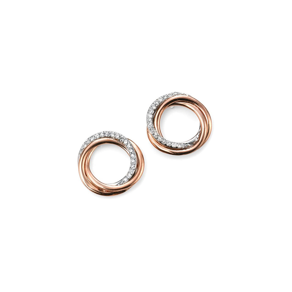 9ct Rose & White Gold Diamond Twist Stud Earrings