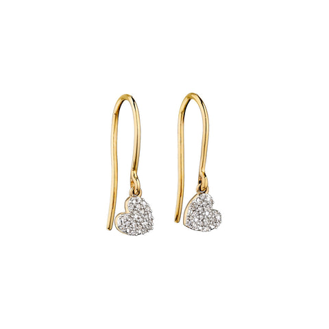 9ct Yellow Gold Diamond Heart Drop Earrings