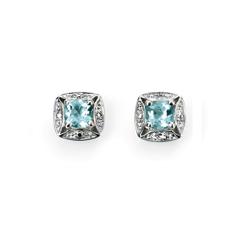 9ct White Gold Aquamarine & Diamond Stud Earrings