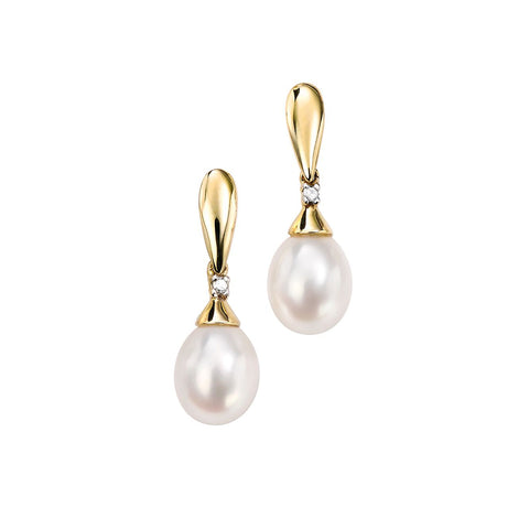 9ct Yellow Gold Pearl & Diamond Drop Earrings