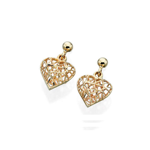 9ct Yellow Gold Heart Wire Drop Earrings