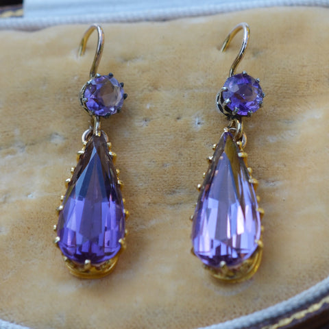 Secondhand Amethyst Drop Earrings