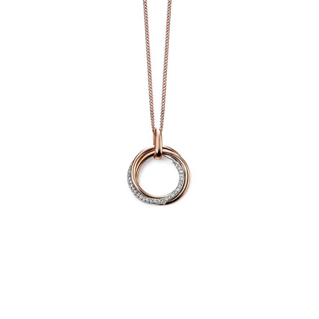9ct Rose & White Gold Diamond Round Twist Pendant Necklace