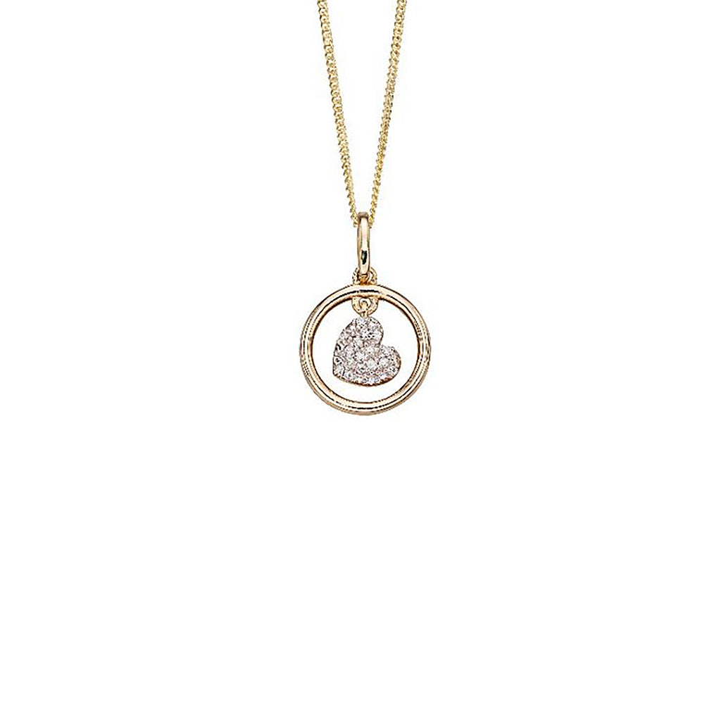 9ct Yellow Gold & Diamond Heart Pendant Necklace