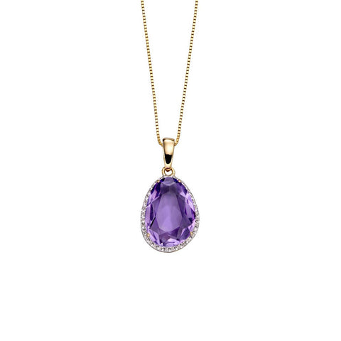 9ct Yellow Gold Amethyst & Diamond Pendant Necklace