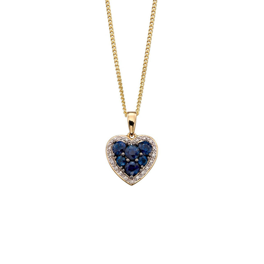 9ct Yellow Gold Sapphire & Diamond Heart Pendant Necklace