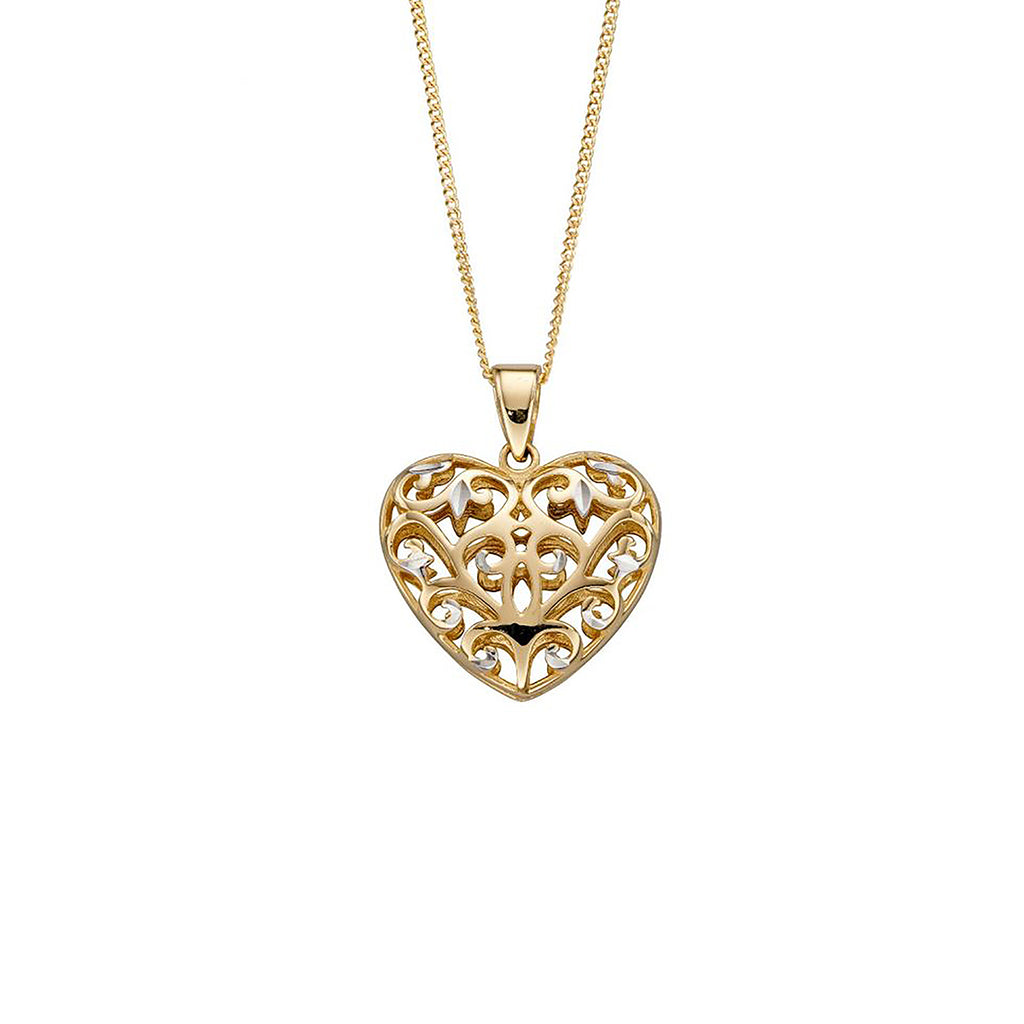 9ct Yellow & White Gold Filigree Heart Pendant Necklace
