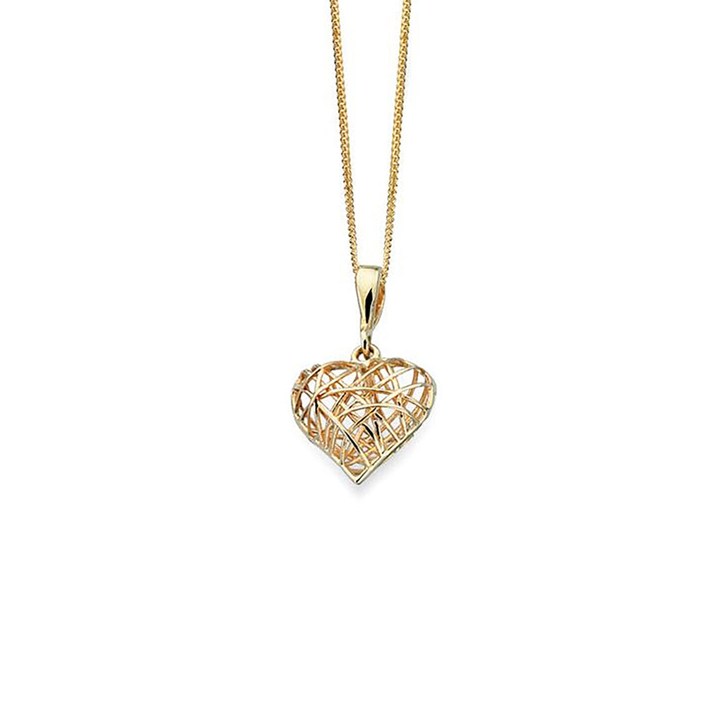 9ct Yellow Gold Wire Heart Pendant Necklace