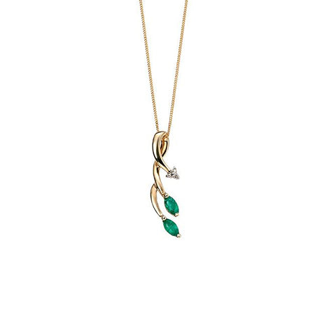 9ct Yellow Gold Emerald & Diamond Pendant Necklace