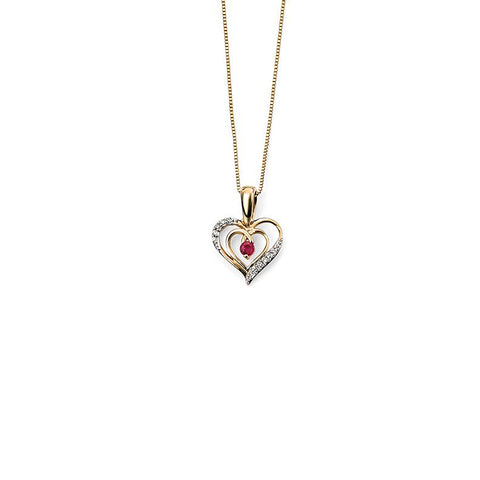 9ct Yellow Gold Ruby & Diamond Heart Pendant Necklace