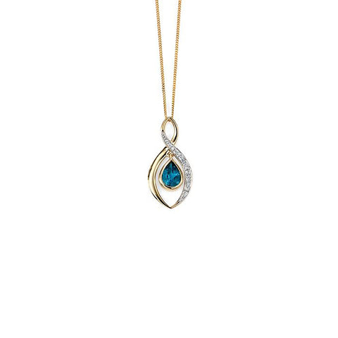 9ct Yellow Gold London Blue Topaz & Diamond Pendant Necklace