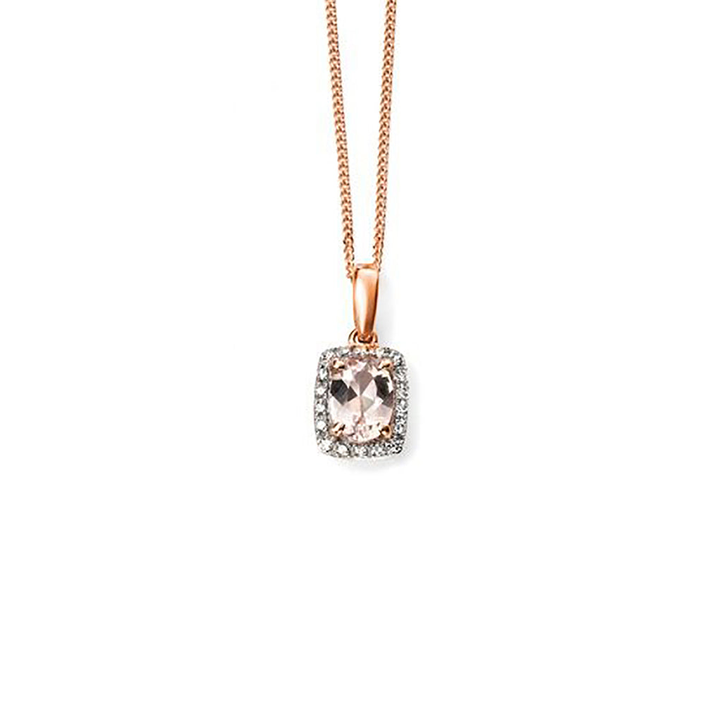 9ct Rose Gold Morganite & Diamond Pendant Necklace