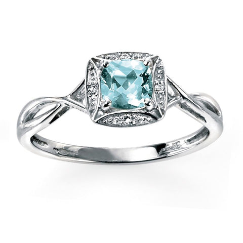 9ct White Gold Aquamarine & Diamond Twist Ring
