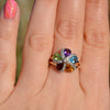 9ct Yellow Gold Multi-Gem Daisy Cluster Ring