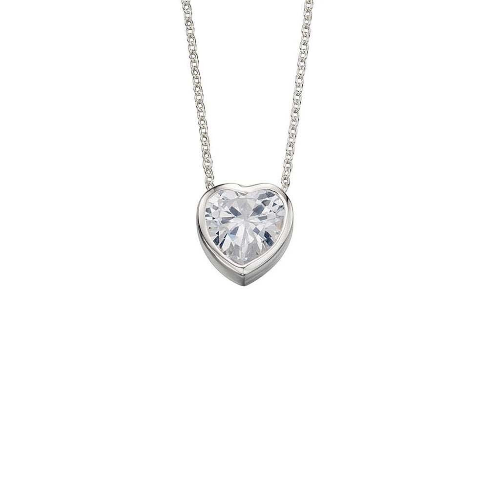 Sterling Silver & Cubic Zirconia Heart Pendant Necklace