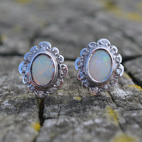 9ct White Gold Opal & Diamond Earrings