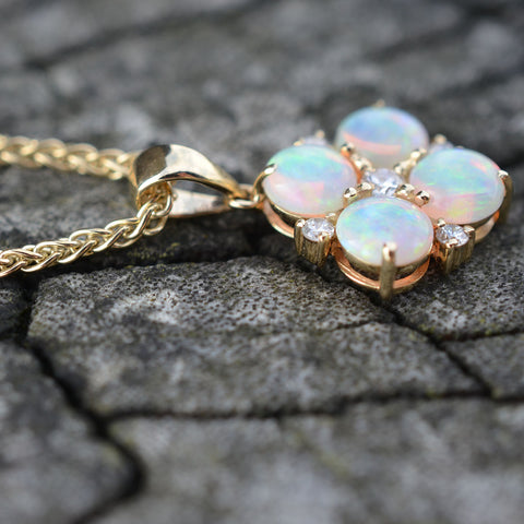 Australian Opal & Diamond Pendant Necklace
