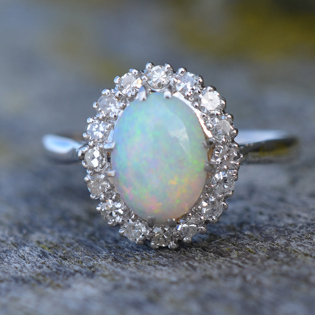 Secondhand 18ct White Gold Opal & Diamond Ring