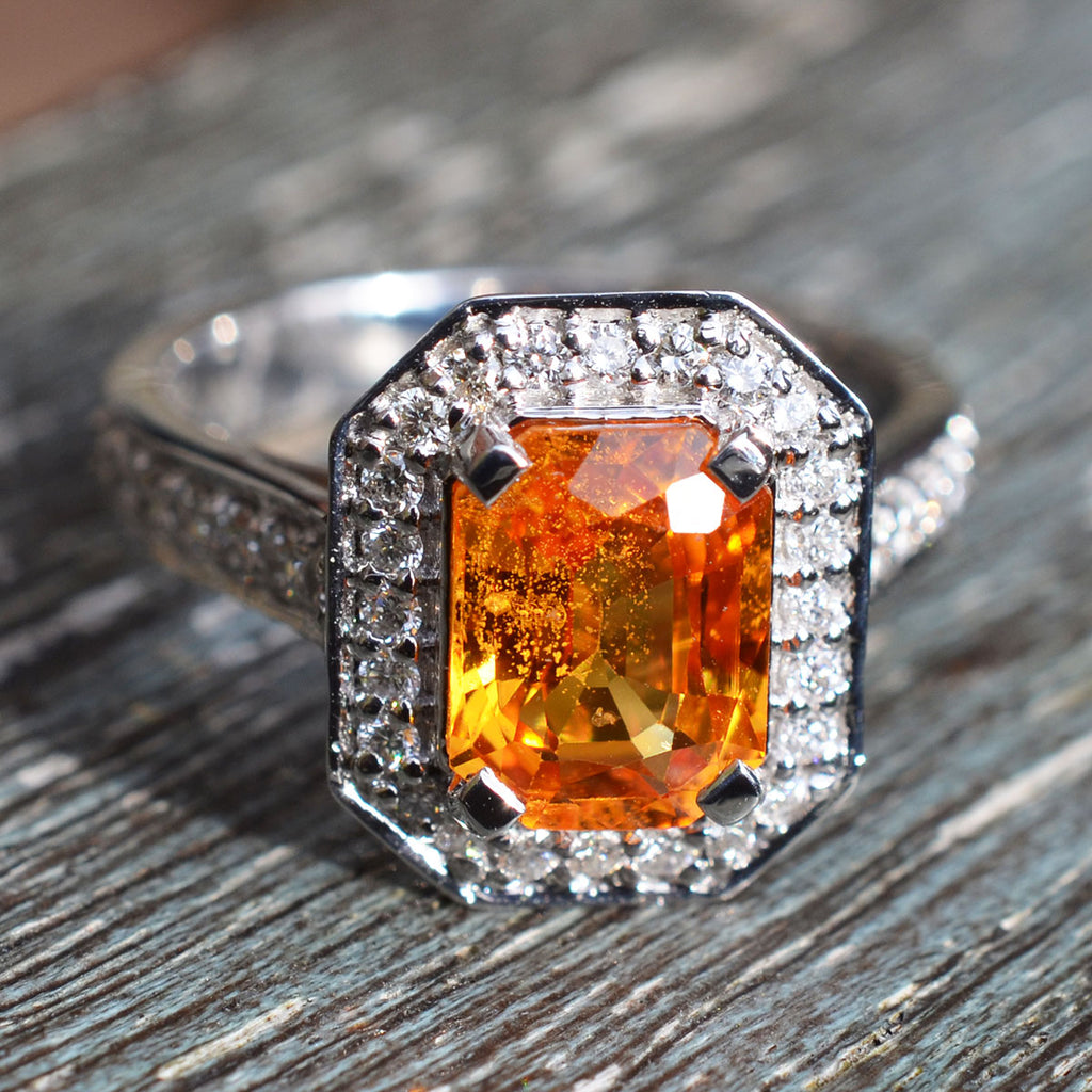 Orange Sapphire & Diamond Cluster Ring