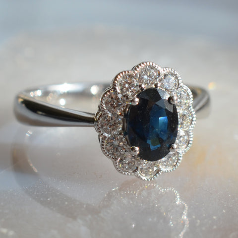 18ct White Gold Sapphire & Diamond Oval Cluster Ring