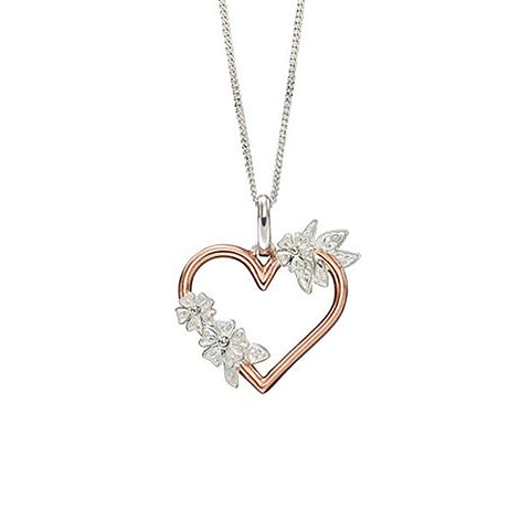 Sterling Silver & Rose Gold Plated Heart Pendant Necklace