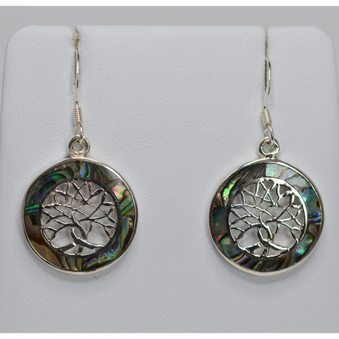 Sterling Silver & Paua Shell Tree of Life Drop Earrings