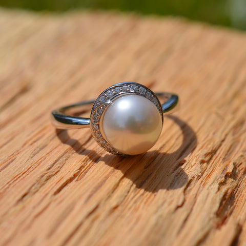 Pearl & Diamond Cluster Ring