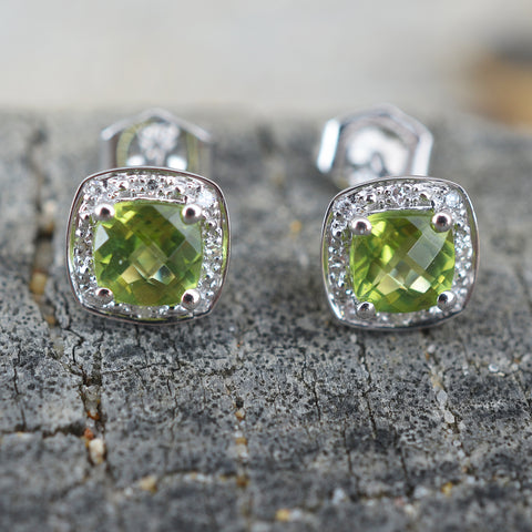 9ct White Gold Peridot & Diamond Earrings