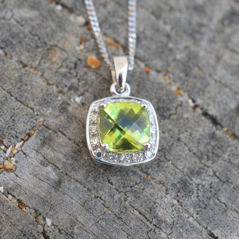 9ct White Gold Peridot & Diamond Pendant Necklace