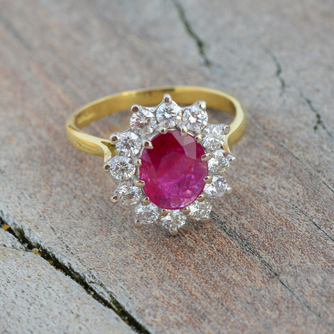 Secondhand Ruby & Diamond Oval Cluster Ring