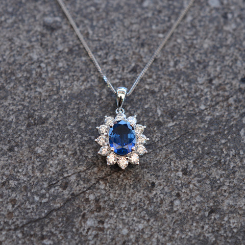 Sapphire & Diamond Oval Cluster Necklace