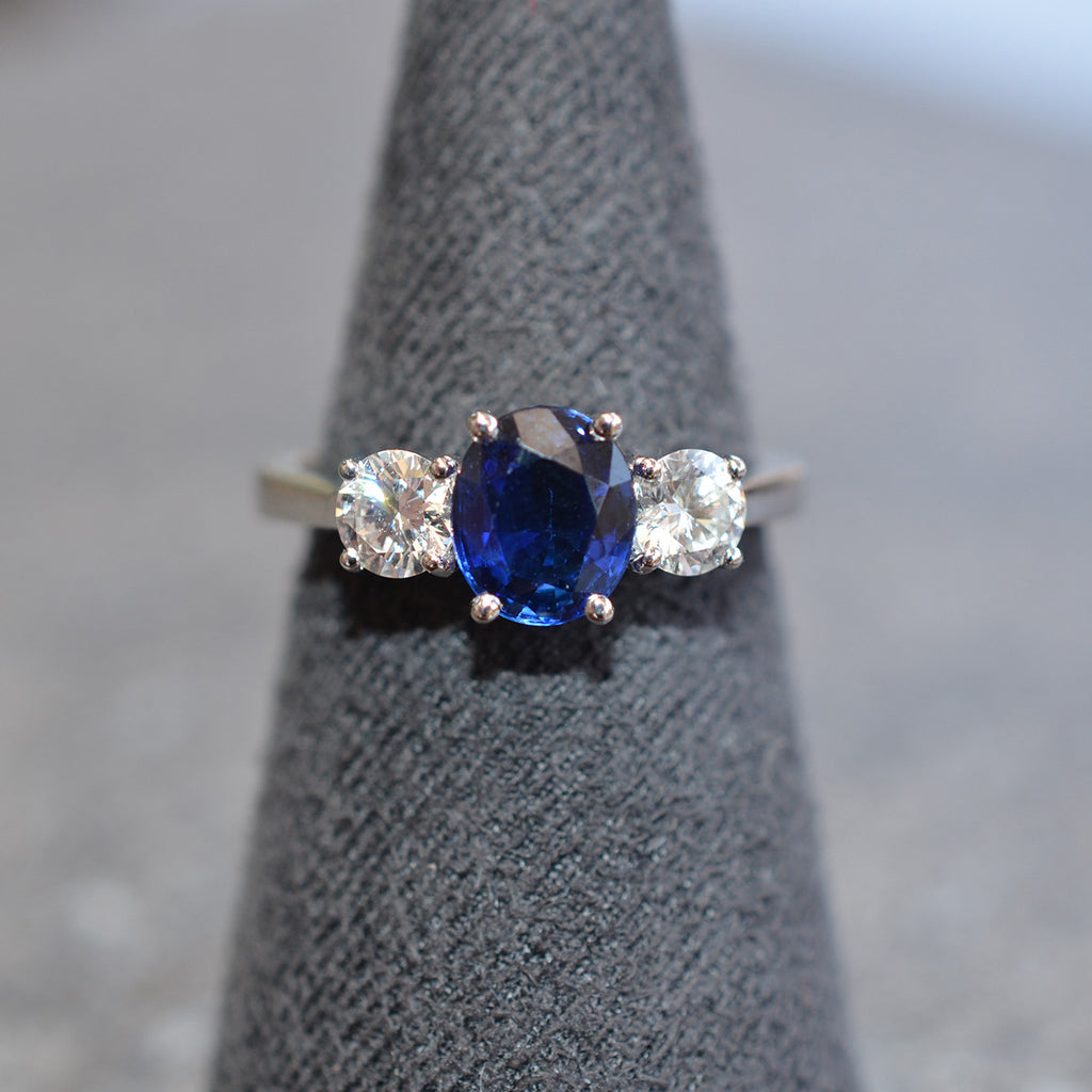 Diamond & Sapphire Three Stone Ring