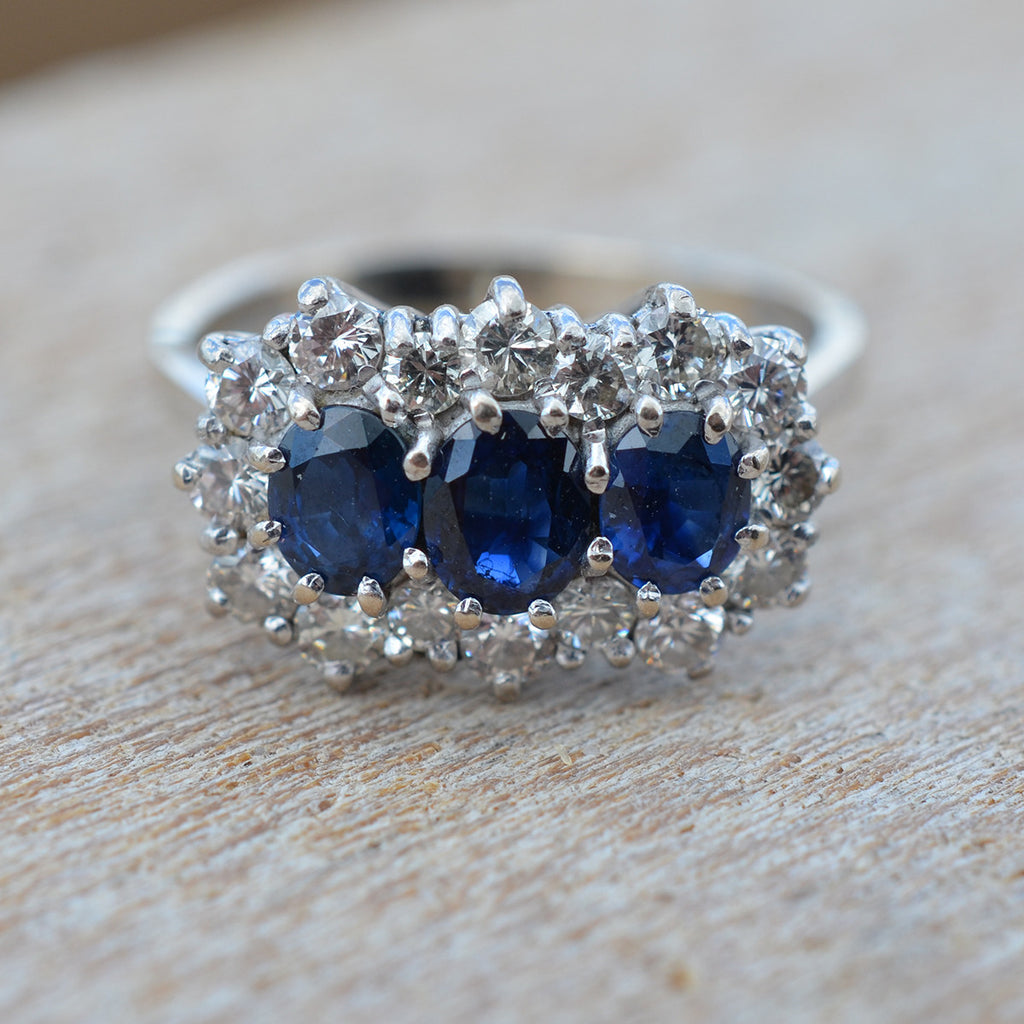Secondhand Sapphire & Diamond Triple Cluster Ring