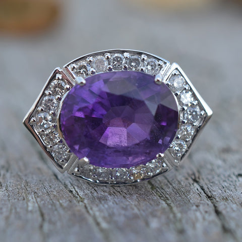 Secondhand 18ct White Gold Amethyst & Diamond Ring