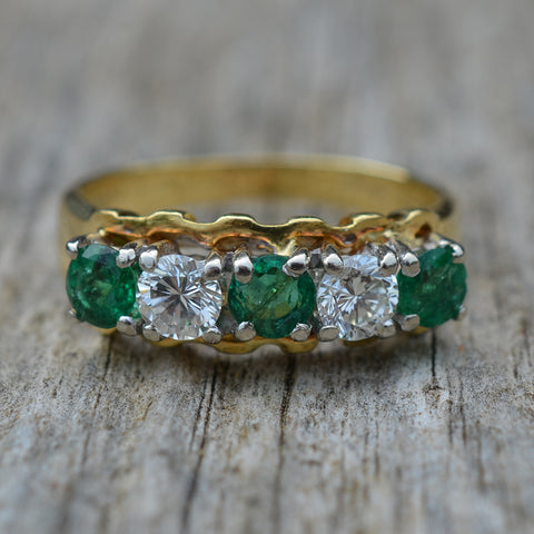 Secondhand Emerald & Diamond Eternity Ring