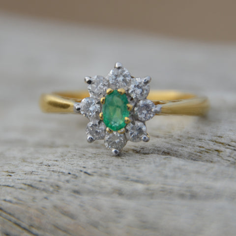 Secondhand Emerald & Diamond Cluster Ring